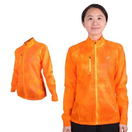 (女) ASICS 立領外套 - 慢跑 輕薄 風衣 亞瑟士 螢光橘