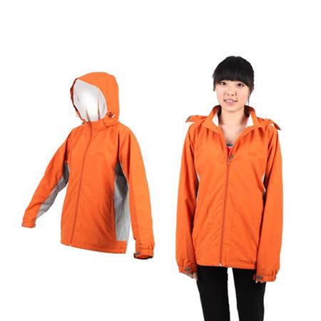 (女) LeVon 連帽外套 -風衣 防風 防潑水 天鵝絨 橘灰