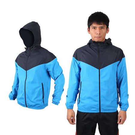 (男) SOFO 防風外套-連帽 風衣 抗UV 可收納 寶藍丈青