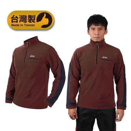 (男) LeVon 保暖長袖T恤-刷毛 保暖 台灣製 咖啡