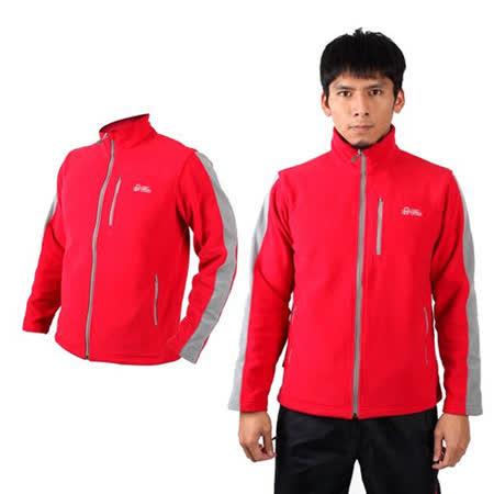 (男) LeVon 立領外套-刷毛 保暖 台灣製 紅淺灰