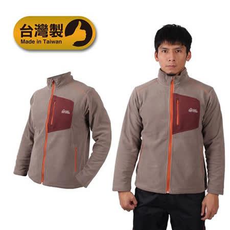 (男) LeVon 立領外套-刷毛 保暖 台灣製 棕褐