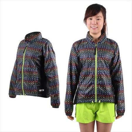 (女) MIZUNO 運動外套-慢跑 路跑 風衣 立領 美津濃  彩虹黑