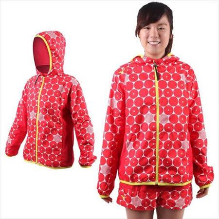 (女) MIZUNO 連帽風衣外套- 慢跑 路跑 平織 美津濃 紅白