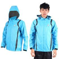 (男) KAPPA 防風外套-連帽外套 風衣外套 防風 防潑水 雙層 天藍