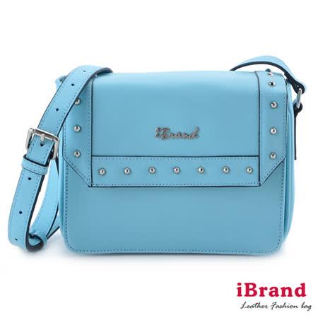 iBrand真皮-韓系時尚鉚釘個性小方包-天空藍