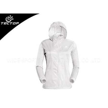 (女) TECTOP 風衣外套- 慢跑 單車 防曬 白