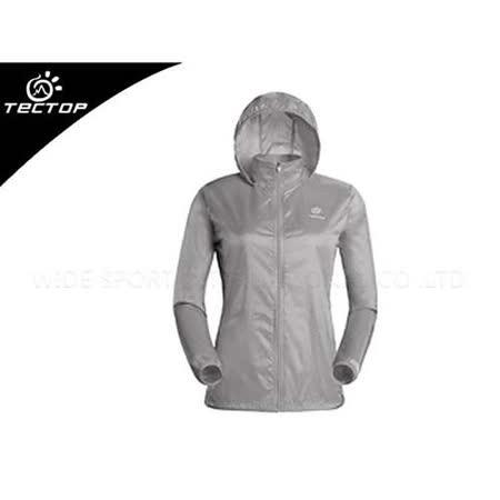 (女) TECTOP 風衣外套- 慢跑 單車 防曬 淺灰