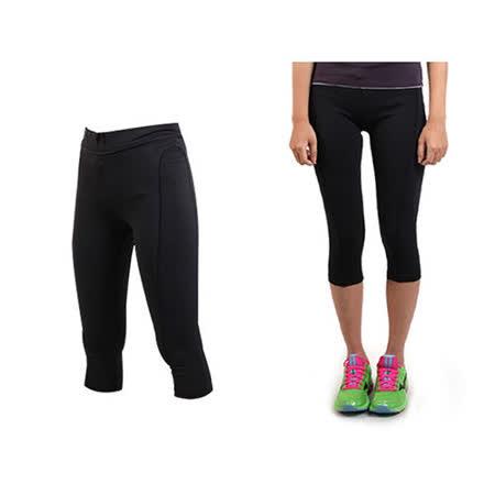 (女) SOFO 緊身七分褲- 台灣製 慢跑 有氧 韻律 瑜珈 緊身長褲 束褲 黑