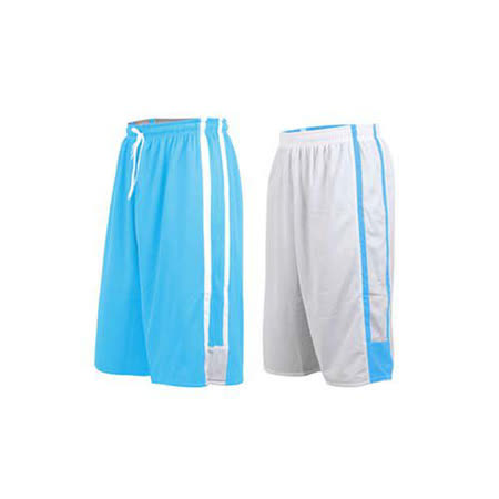(男女) INSTAR 雙面穿籃球褲-運動短褲 台灣製 北卡藍白