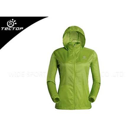 (女) TECTOP 風衣外套- 慢跑 單車 防曬 淺綠