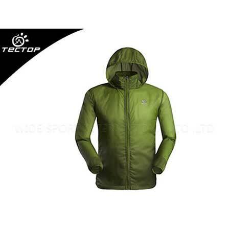 (男) TECTOP 風衣外套- 慢跑 單車 防曬 軍綠