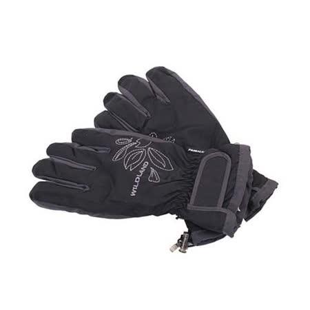 (女) WILDLAND PRIMALOFT 防水手套-防風 保暖 刷毛手套  黑