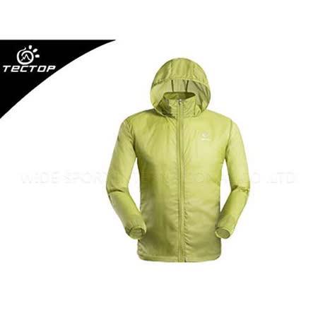 (男) TECTOP 風衣外套- 慢跑 單車 防曬 螢光黃