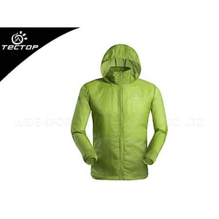 (男) TECTOP 風衣外套- 慢跑 單車 防曬 淺綠