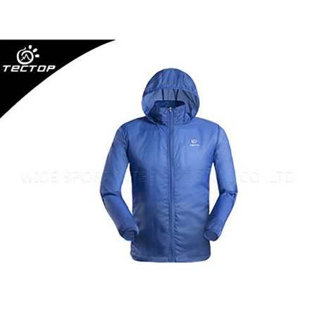 (男) TECTOP 風衣外套- 慢跑 單車 防曬 寶藍銀