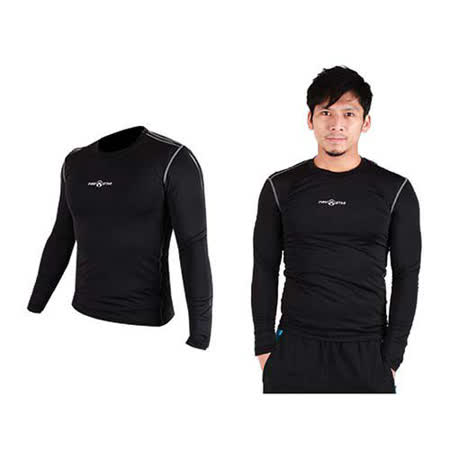 (男) FIRESTAR 緊身長袖T恤-慢跑 路跑 運動T恤  黑