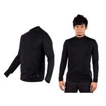 (男) WILDLAND 遠紅外線彈性保暖長袖T恤衣-刷毛 內衣  黑