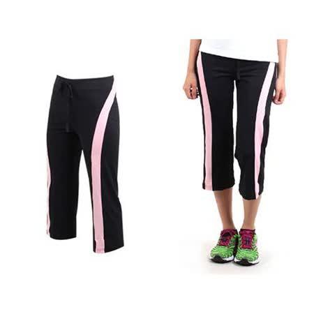 (女) SOFO 七分褲-有氧 瑜珈 韻律 運動長褲  黑粉