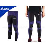(男) ASICS 體軸調整緊身長褲  -慢跑 防水 反光  藍黑 XL