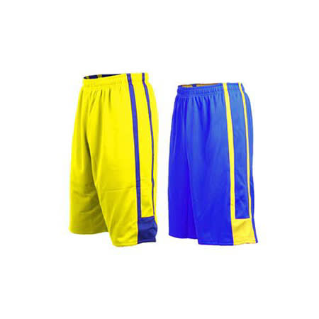(男女) INSTAR 雙面穿籃球褲-運動短褲 台灣製 寶藍黃