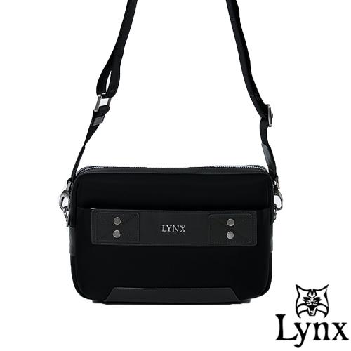 Lynx ~ 山貓紳士極簡風格2WAY真皮手拿側背包~沉穩灰