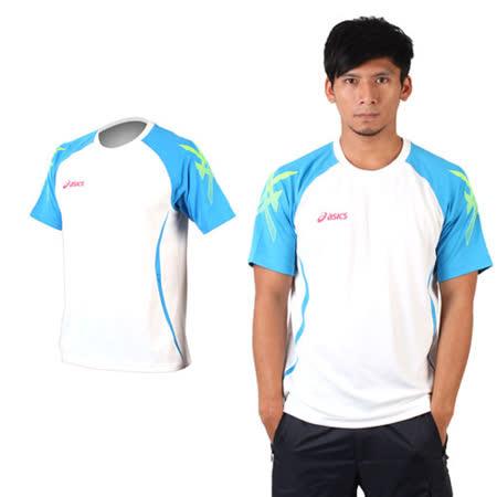 (男) ASICS 短袖T恤-慢跑 亞瑟士 白藍