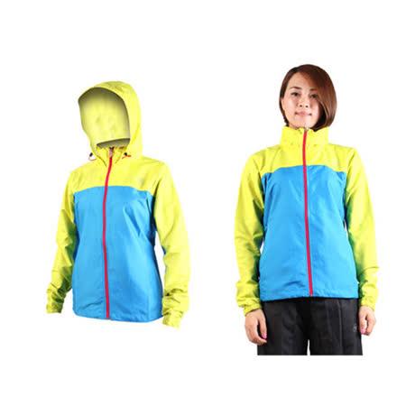 (女) ASICS 防風衣外套-連帽外套 慢跑 亞瑟士黃寶藍