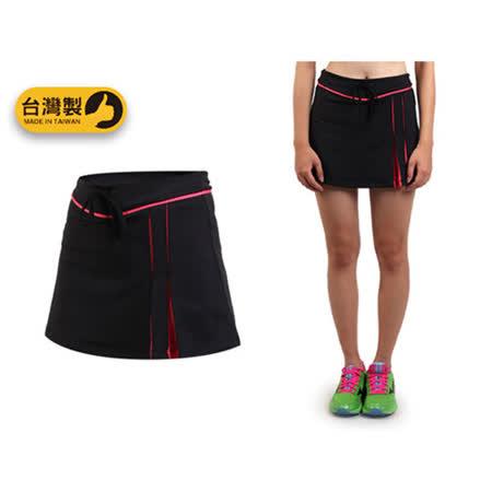 (女) SOFO 短褲裙-台灣製 有氧 韻律 網球 羽球 百褶褲裙 黑玫紅