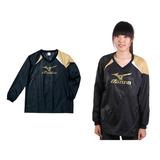 (女) MIZUNO 長袖排球服-羽球 長袖T恤 暖身衣 美津濃 黑金