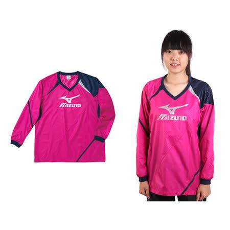(女) MIZUNO 長袖排球服-羽球 長袖T恤 暖身衣 美津濃 桃紅丈青銀