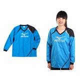 (女) MIZUNO 長袖排球服-羽球 長袖T恤 暖身衣 美津濃 寶藍黑銀