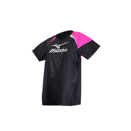 (女) MIZUNO 日本進口 短袖排球服-短袖T恤 暖身衣 美津濃 黑桃銀