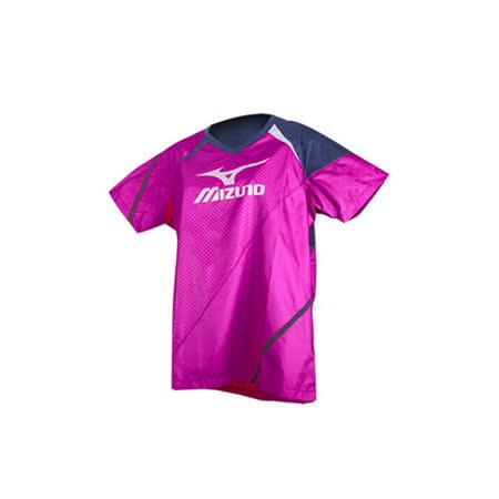 (女) MIZUNO 日本進口 短袖排球服-短袖T恤 暖身衣 美津濃 桃紅丈青銀