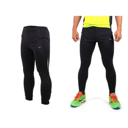 (男) MIZUNO 刷毛緊身長褲-路跑 慢跑 束褲 緊身褲 保暖 黑綠
