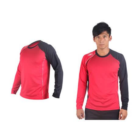 (男) MIZUNO 網球長袖T恤-排球 羽球 長袖T恤 美津濃 紅黑