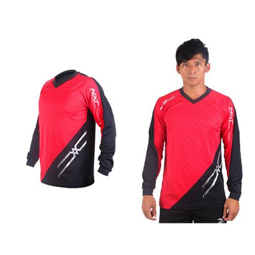 (男) MIZUNO 排球長袖T恤-運動T恤 美津濃 NXT系列 紅黑