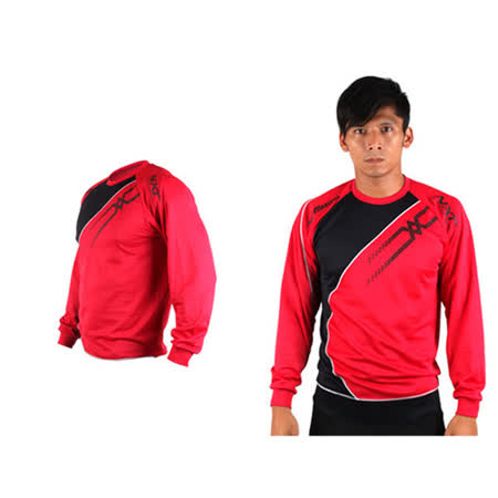 (男) MIZUNO 長袖T恤-路跑 慢跑 運動T恤 美津濃 NXT系列 紅黑