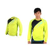 (男) MIZUNO 長袖T恤-路跑 慢跑 運動T恤 美津濃 NXT系列 螢光綠黑