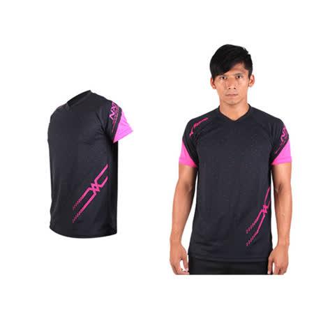 (男) MIZUNO 排球短袖T恤-運動T恤 美津濃 NXT系列 黑桃紅