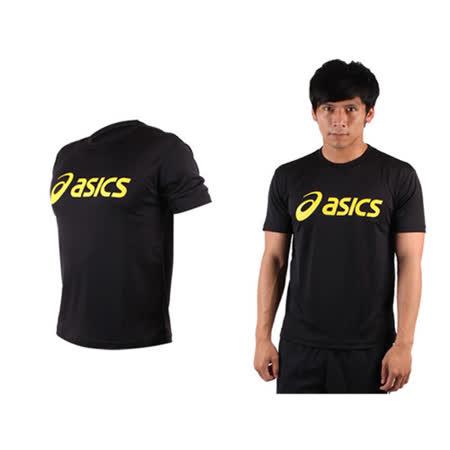 (男) ASICS LOGO 短袖T恤-慢跑 路跑 亞瑟士 黑黃
