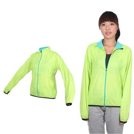 (女) MIZUNO 路跑風衣- 慢跑 防風外套 立領 台灣製 美津濃 蘋果綠銀