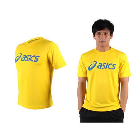 (男) ASICS LOGO 短袖T恤-慢跑 路跑 亞瑟士 黃藍