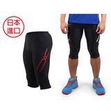 (男) MIZUNO 日本進口 七分緊身褲-慢跑 路跑 緊身長褲 美津濃 黑紅