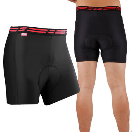 SOGK 男波特單車內褲-網眼透氣布料舒適-黑紅(自行車 腳踏車 車褲