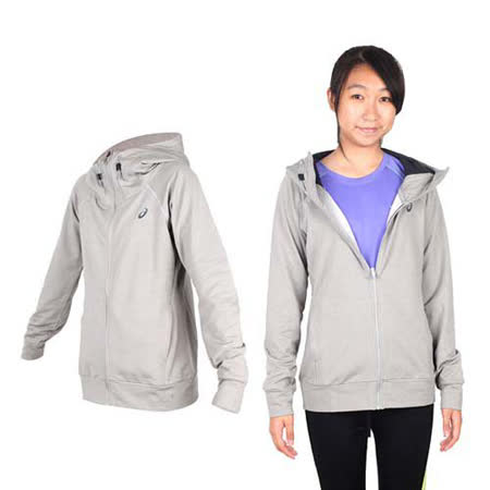 (女) ASICS 運動外套- 刷毛 立領外套 保暖 亞瑟士 淺灰黑