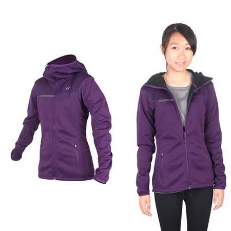 (女) ASICS 運動外套- 刷毛 立領外套 保暖 亞瑟士 深紫黑