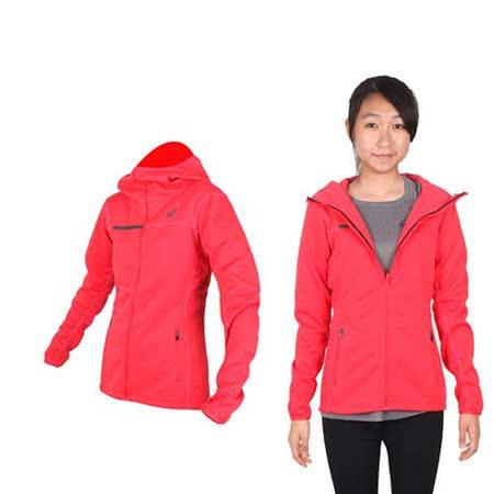 (女) ASICS 運動外套- 刷毛 立領外套 保暖 亞瑟士 橘紅黑