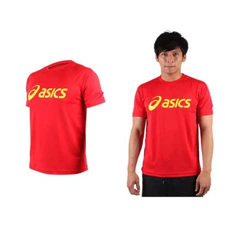 (男) ASICS LOGO 短袖T恤-慢跑 路跑 亞瑟士  紅黃(品特)