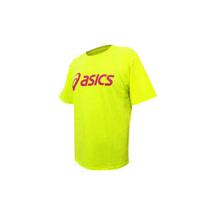 (男) ASICS LOGO 短袖T恤-慢跑 路跑 亞瑟士  螢光黃桃紅